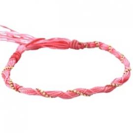 Armbandje twisted papaya roze