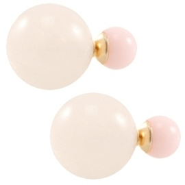 Double pearl oorbellen Light rose