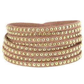 Armband met studs nude bruin
