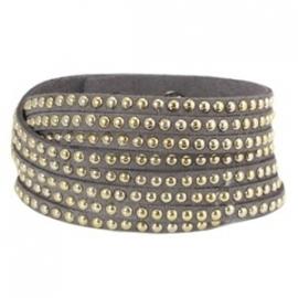 Armband met studs grijs
