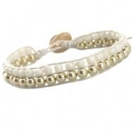 Rocaille armband off white goud