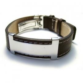 Lederen armband met RVS decoratie