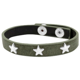 Silver stars dark olive green