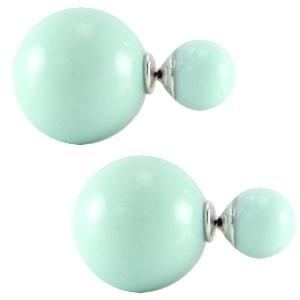 Double pearl oorbellen Minty Green