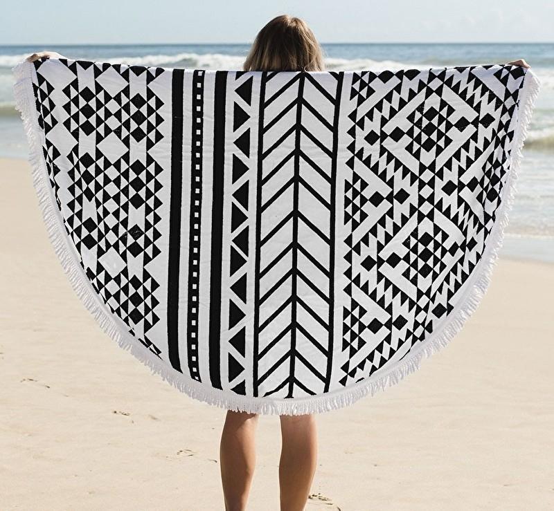Aztec Beach handdoek met franje (Roundie)