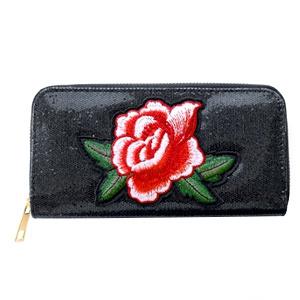 Trendy portemonnee met roos