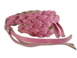 Gevlochten leren wrap armband roze