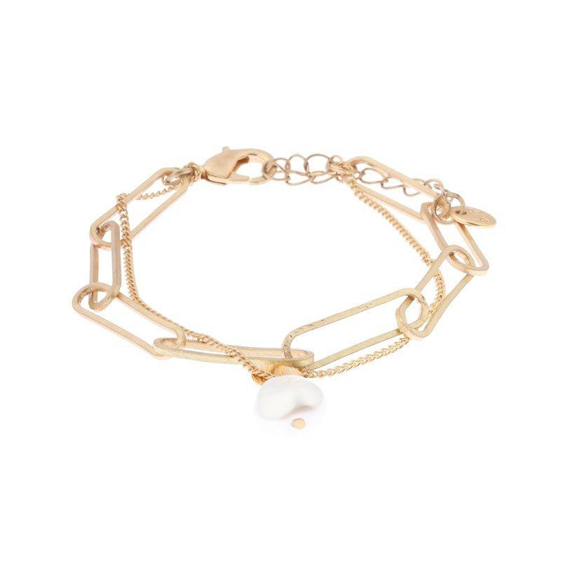 Biba armband met witte glas parel