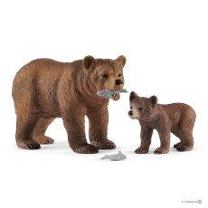 42473 Grizzly beer. moeder met jong.