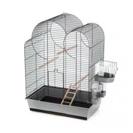 Vogelkooi Eliza grijs/zwart + bad en ladder