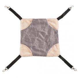 Hangmat pluche grijs/wit  L