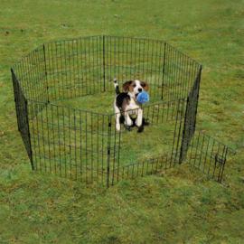 Puppyren met deur & net & haken zwart