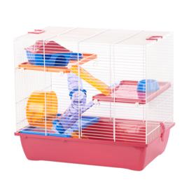 Hamsterkooi Pinky 3 fuchsia/wit