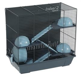 Hamsterkooi Indoor 2 Triplex grijs/blauw