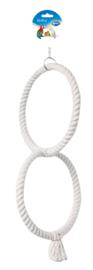 Papegaaispeeltje 2 ringen Wit 24CM Ø - (50CM lang)
