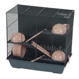 Hamsterkooi Indoor 2 Triplex grijs/roze
