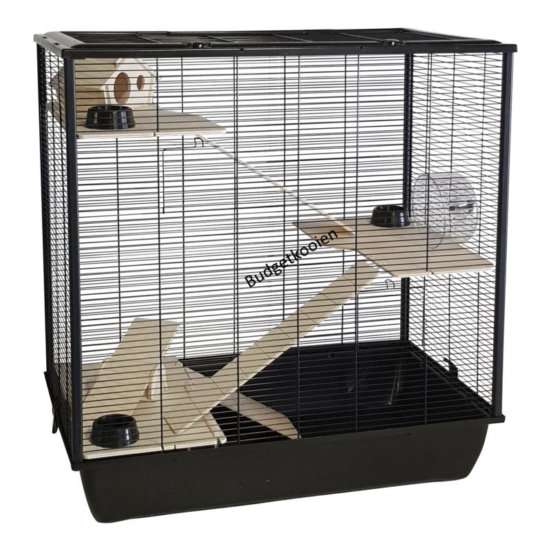 Hamsterkooi / rattenkooi naturel Fargo zwart
