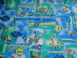 Kinder stof patchwork zeemonsters