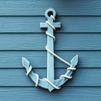 Servetten wooden anchor blue