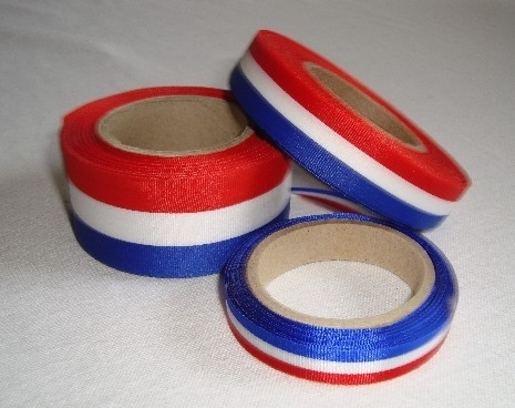 rood wit blauw lint 7,10,15 of 25 mm