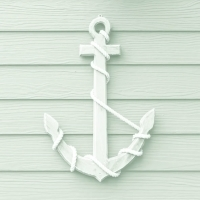 Servetten wooden anchor white