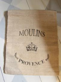 Oude graanzak met Franse tekst a.