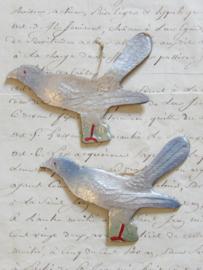 Dresdner pappe vogel zilverblauw