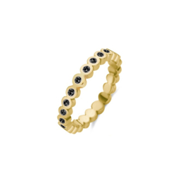 Friends Wave cz black ring | Rvs, Geel goud, Rose goud