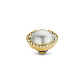 Twisted cr Pearl stone White | Rvs, Geel goud, Rose goud