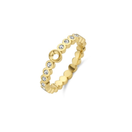 Twisted wave cz crystal | Rvs, Geel goud, Rose goud