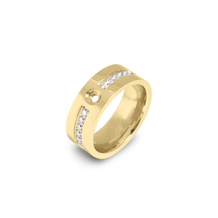 Twisted cz ring   Rvs, Geel Goud, Rose Goud (TR19)
