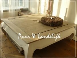 Landelijke teak salontafel 100 cm x 100 cm