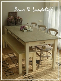 Maatwerk! Dining Table Old Weathered tapse poot