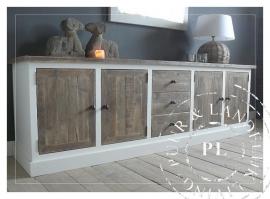 Maatwerk! Landelijk tv meubel/flatscreenmeubel ~Living~ old wood/ riviera white