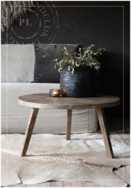 Maatwerk / stoere ronde salontafel SPIDER  / old wood