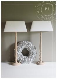 Stijlvolle landelijke lamp met linnen kap / VERKOCHT