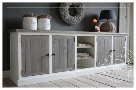 Maatwerk! Landelijk tv meubel ~Basic~ old weathered / riviera white