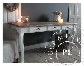 Maatwerk / landelijke eettafel / Queen Ann Chic robuust / riviera white / old wood