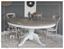Maatwerk / Landelijke eettafel / used wood / riviera white
