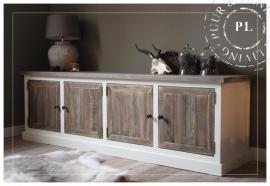 Maatwerk / landelijk tv meubel / old wood / 4 deurs