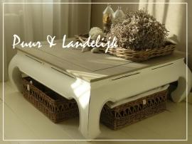 Landelijke teak salontafel 100 cm x 100 cm (Verkocht)