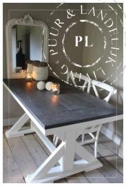 Maatwerk / Landelijke eettafel / FIESTA / riviera white/ lovely black