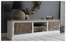 Maatwerk! Landelijk tv meubel old wood / riviera white