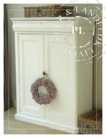 Landelijke brocante meidenkast in Riviera White (146 cm) *verkocht*