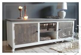 Maatwerk! Landelijk tv meubel / flatscreenmeubel driftwood / riviera white