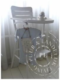Brocante landelijke kinderstoel Riviera White *Verkocht*