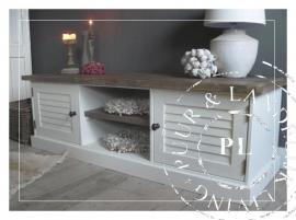Maatwerk! Landelijk tv meubel / flatscreenmeubel louvre old wood/ brown/grey