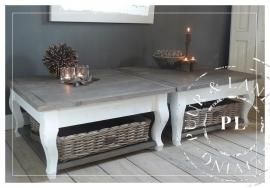 Maatwerk! Landelijke salontafel Queen Ann, driftwood / riviera white
