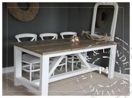 Maatwerk / Landelijke eettafel / SHADOW / used wood / riviera white