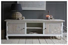 Maatwerk! Landelijk tv meubel / flatscreenkast riviera white ~Romantic Beach~